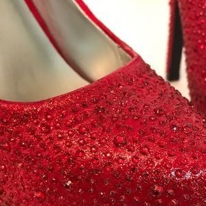 Paprika_Red_Beaded_Platform_Stileto Shoe